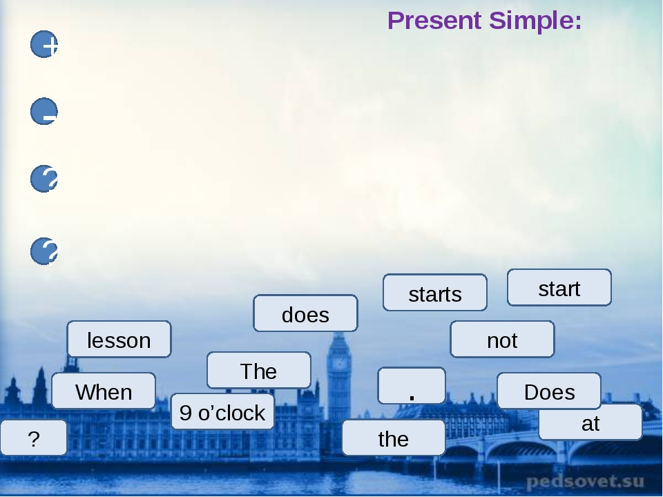 lesson The starts start at 9 o'clock does When Does + - ? ? not ? Present Sim...