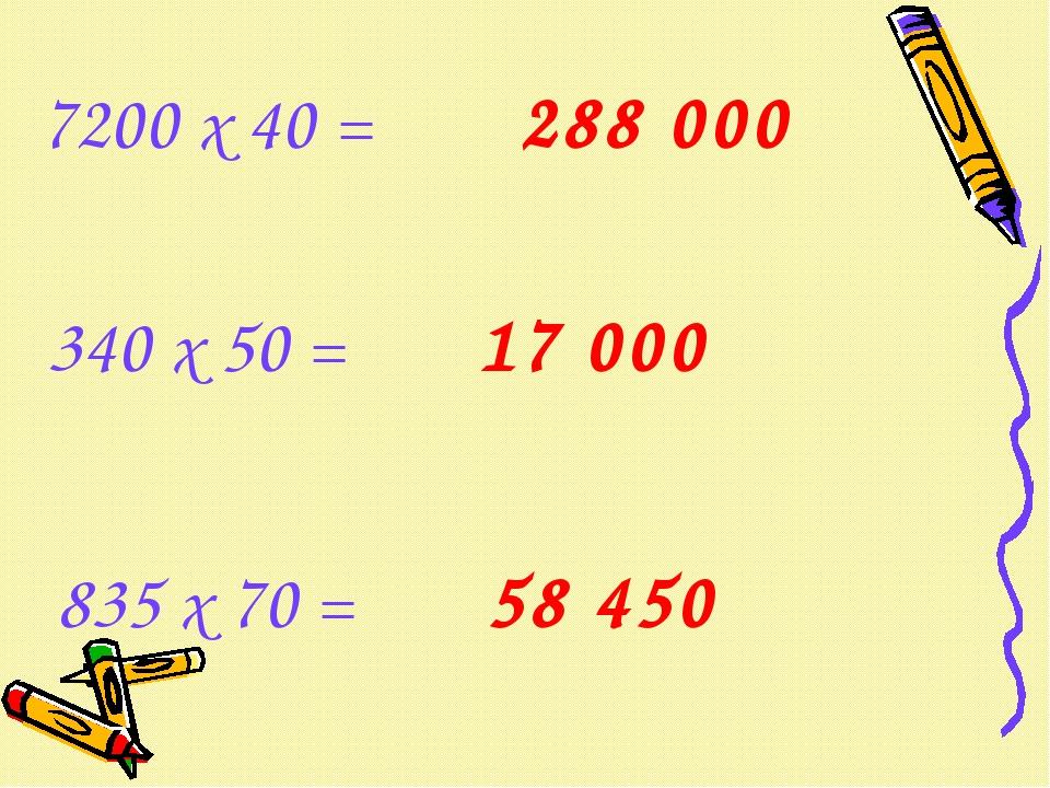 7200 х 40 = 340 х 50 = 835 х 70 = 288 000 17 000 58 450