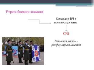 Утрата боевого знамени Командир ВЧ + военнослужащие СУД Воинская часть - расф