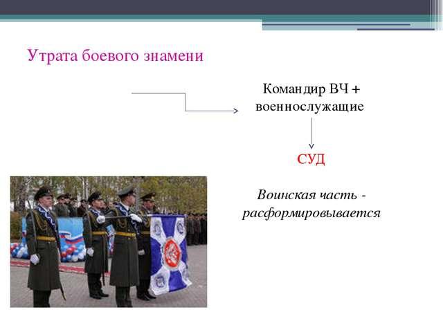 Утрата боевого знамени Командир ВЧ + военнослужащие СУД Воинская часть - расф...