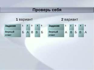 Проверь себя 1 вариант 2 вариант Задание123 45 Верный ответБАВВБ За