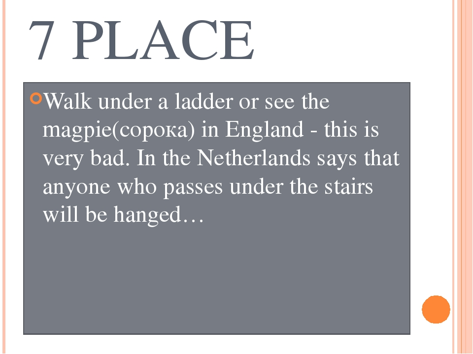 7 PLACE Walk under a ladder or see the magpie(сорока) in England - this is ve...