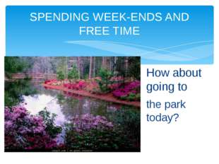 How about going to the park today? SPENDING WEEK-ENDS AND FREE TIME