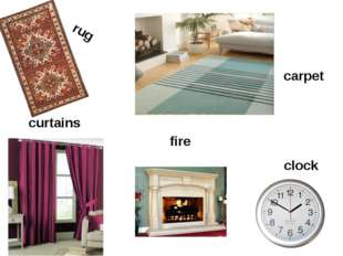 curtains rug carpet clock fire