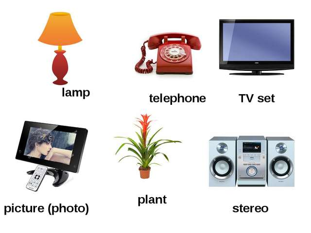 stereo TV set plant telephone picture (photo) lamp
