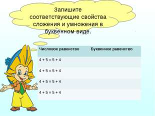 Запишите соответствующие свойства сложения и умножения в буквенном виде. Числ