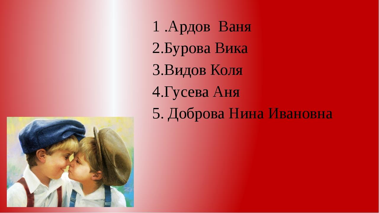 1 .АрдовВаня 2.Бурова Вика 3.Видов Коля 4.Гусева Аня 5. Доброва Нина Ивановна