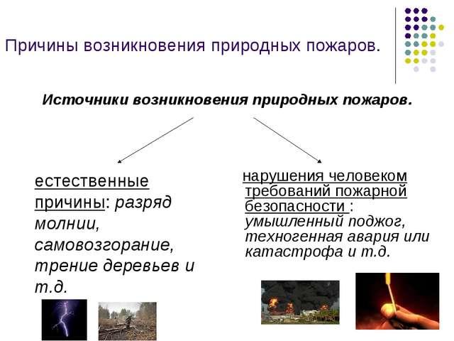 Причины возникновения природных пожаров. нарушения человеком требований пожар...