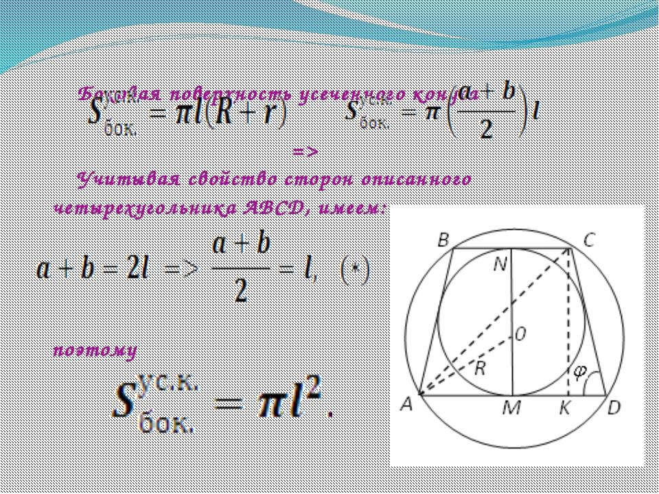 Боковая поверхность усеченного конуса  => Учитывая свойство сторон описа...