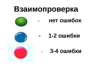 Взаимопроверка - нет ошибок - 1-2 ошибки - 3-4 ошибки