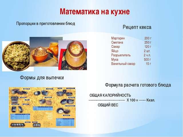 Математика на кухне Пропорции в приготовлении блюд Формы для выпечки Маргарин...