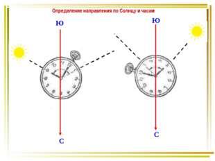 Ю С Ю С Определение направления по Солнцу и часам