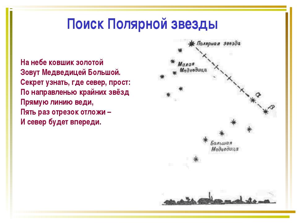Поиск Полярной звезды На небе ковшик золотой Зовут Медведицей Большой. Секрет...
