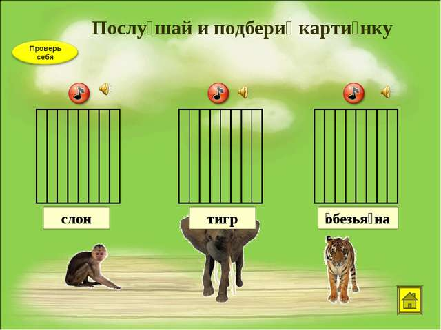 Послу́шай и подбери́ карти́нку тигр ͞обезья́на слон