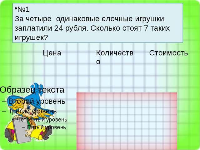 №1 За четыре одинаковые елочные игрушки заплатили 24 рубля. Сколько стоят 7 т...