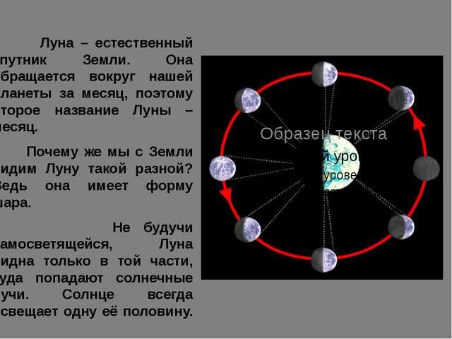 Луна – естественный спутник Земли. Она обращается вокруг нашей планеты за ме...