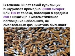 В течение 30 лет такой курильщик выкуривает примерно 20000 сигарет, или 160 к