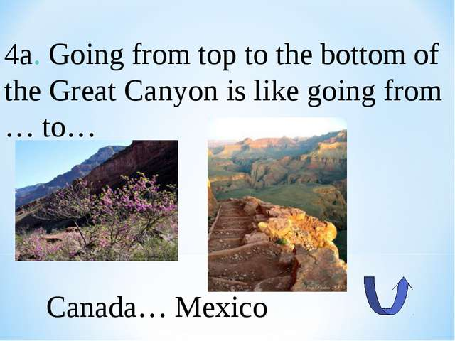 4a. Going from top to the bottom of the Great Canyon is like going from … to…...