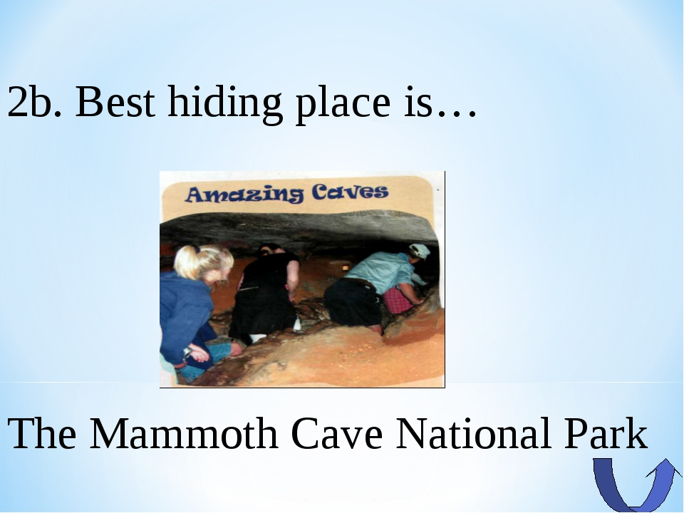 2b. Best hiding place is… The Mammoth Cave National Park