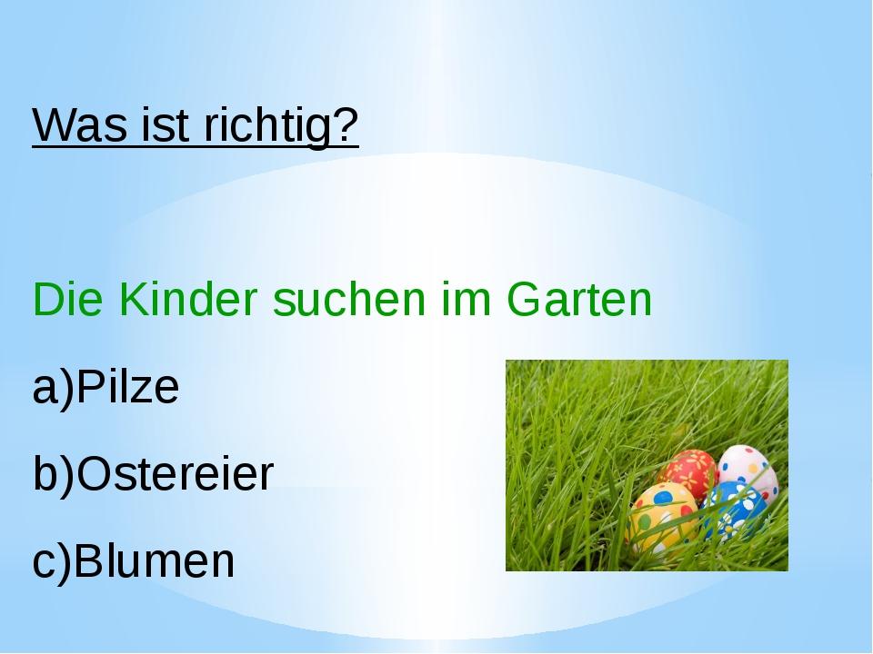 Was ist richtig? Die Kinder suchen im Garten Pilze Ostereier Blumen