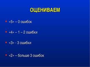 ОЦЕНИВАЕМ «5» – 0 ошибок «4» – 1 – 2 ошибки «3» - 3 ошибки «2» – больше 3 оши