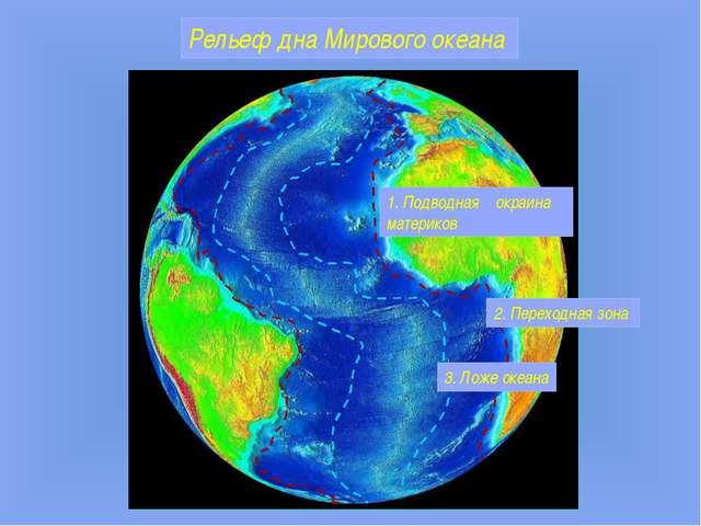 Рельеф дна Мирового океана 1. Подводная окраина материков 3. Ложе океана 2. П...