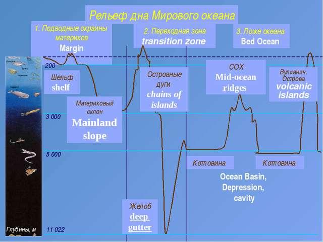 2. Переходная зона transition zone Котловина 1. Подводные окраины материков M...