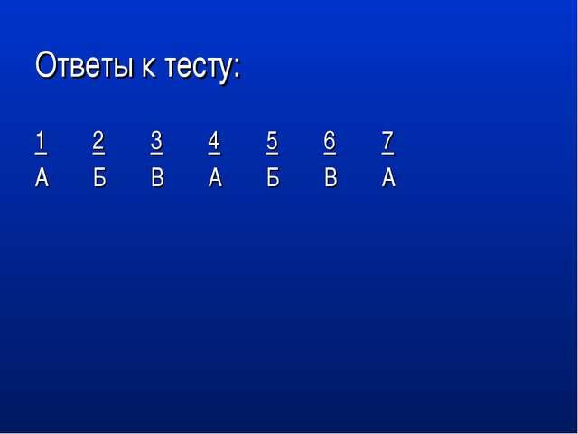 Ответы к тесту: 1234567 АБВАБВА