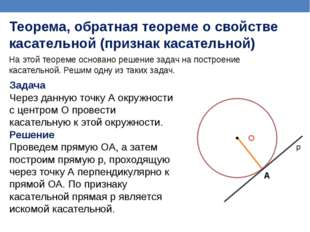 На этой теореме основано решение задач на построение касательной. Решим одну