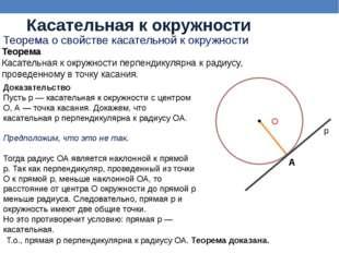 Доказательство Пусть р — касательная к окружности с центром О, А — точка кас