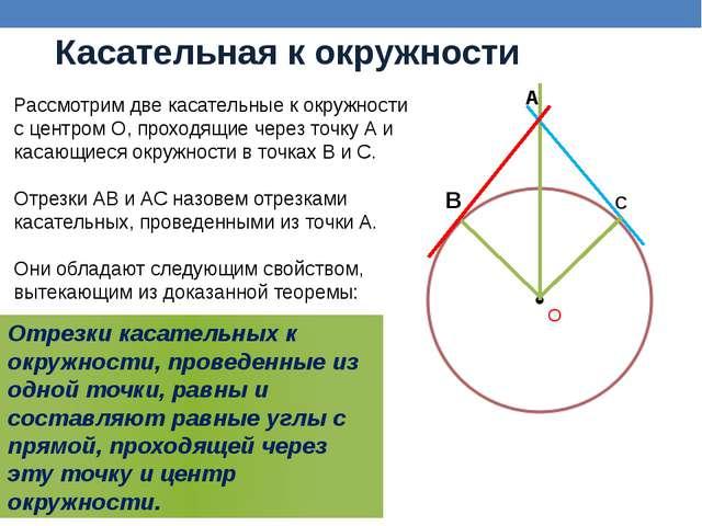 Касательная к окружности Рассмотрим две касательные к окружности с центром О,...