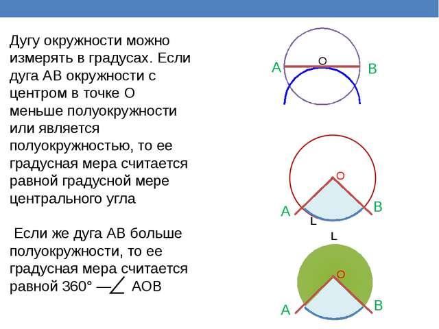 A B O О A B О A B L L Дугу окружности можно измерять в градусах. Если дуга А...