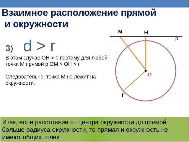 d >г В этом случае ОН >г, поэтому для любой точки М прямой р ОМ >ОН >г С...