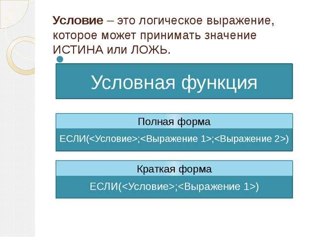 Условие – это логическое выражение, которое может принимать значение ИСТИНА и...