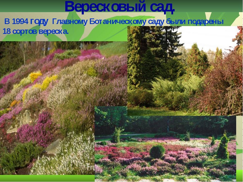 Вересковый сад. В 1994 году Главному Ботаническому саду были подарены 18 сор...