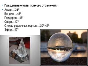Предельные углы полного отражения. Алмаз…24º Бензин….45º Глицерин…45º Спирт…4