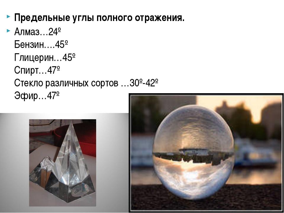 Предельные углы полного отражения. Алмаз…24º Бензин….45º Глицерин…45º Спирт…4...
