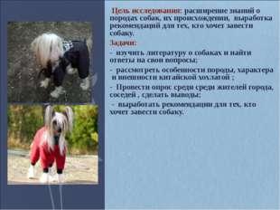 Цель исследования: расширение знаний о породах собак, их происхождении, выра