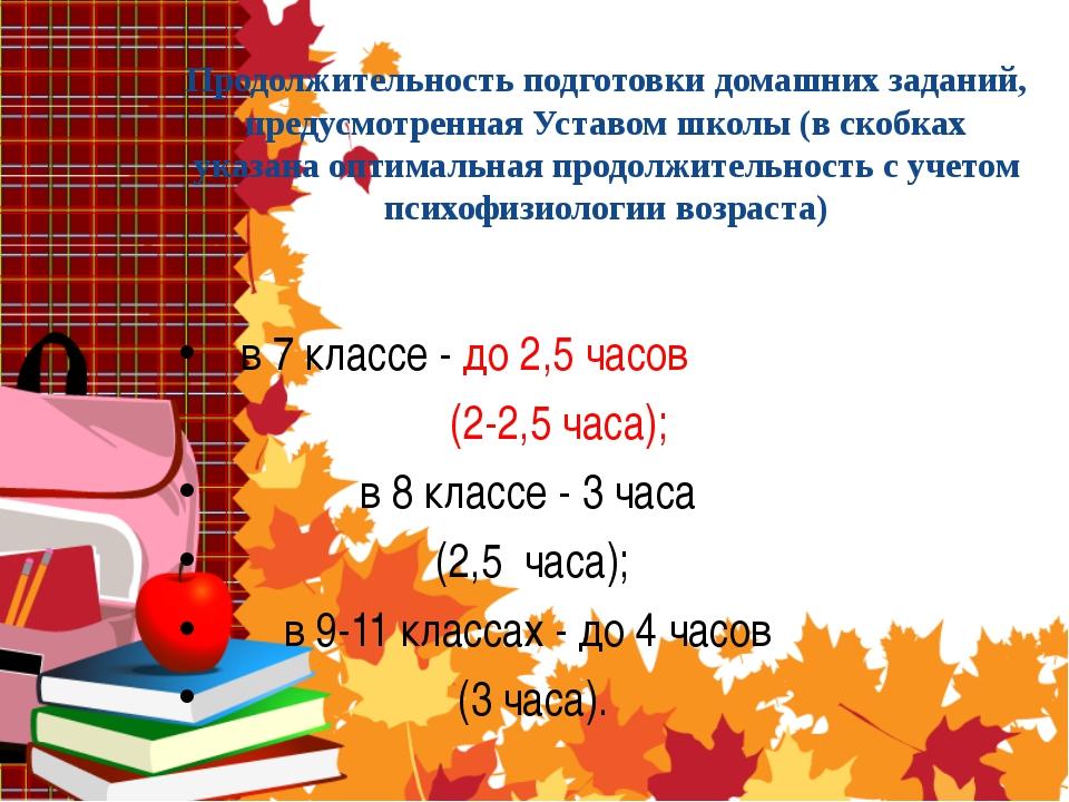 Продолжительность подготовки домашних заданий, предусмотренная Уставом школы...