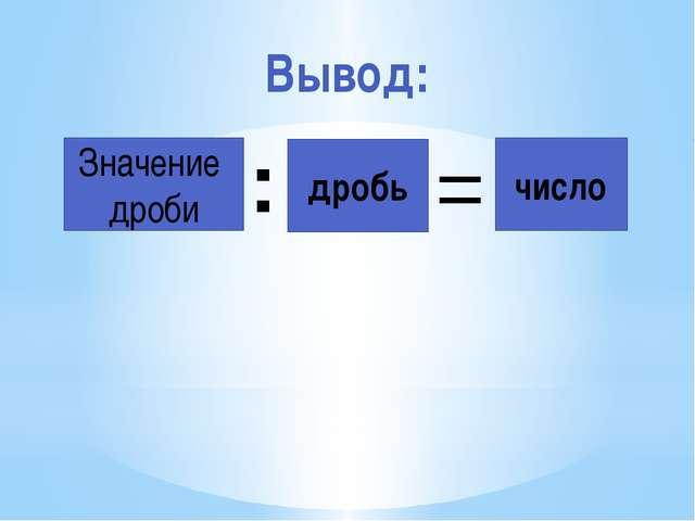 Значение дроби : дробь = число Вывод: