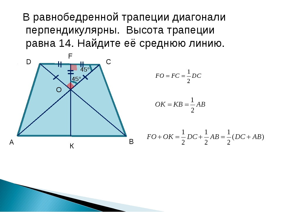 В равнобедренной трапеции диагонали перпендикулярны. Высота трапеции равна 14...