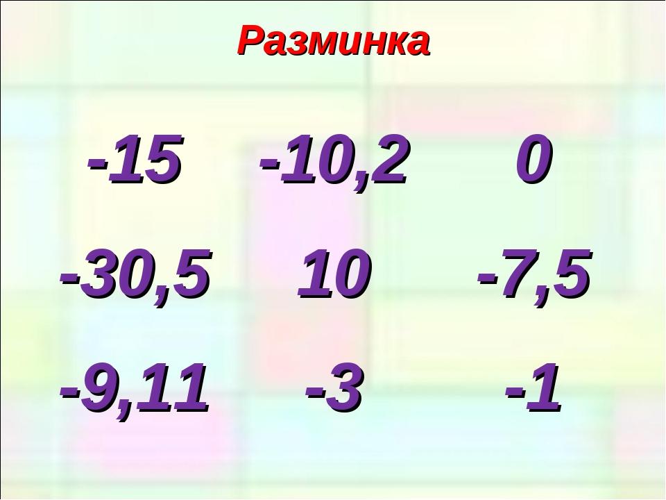 Разминка -15-10,20 -30,510-7,5 -9,11-3-1
