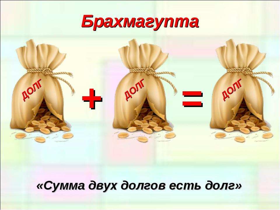 Брахмагупта «Сумма двух долгов есть долг» + =
