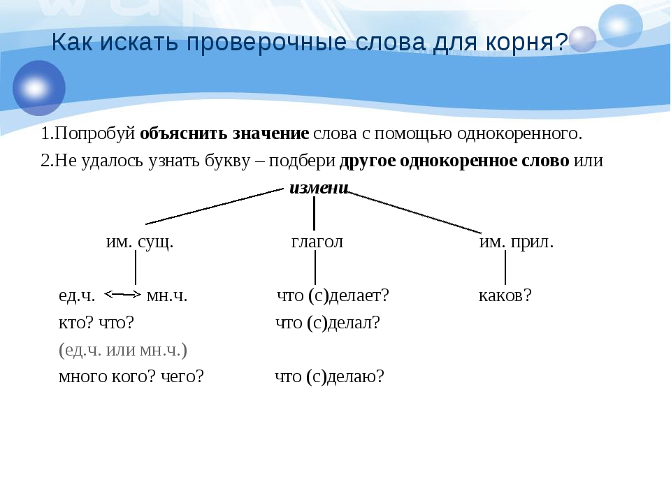 Как искать проверочные слова для корня? 1.Попробуй объяснить значение слова с...