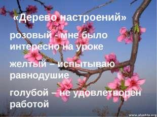«Дерево настроений» розовый - мне было интересно на уроке желтый – испытываю