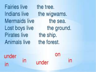 Fairies live the tree. Indians live the wigwams. Mermaids live the sea. Lost