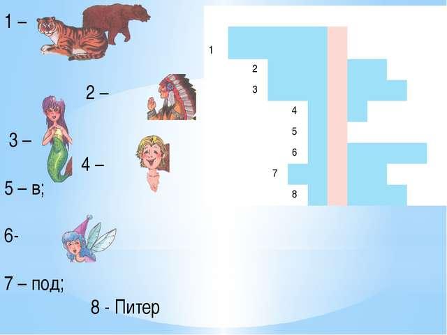 1 – 2 – 3 – 4 – 5 – в; 6- 7 – под; 8 - Питер 1 2 3 4 5 6 7 8