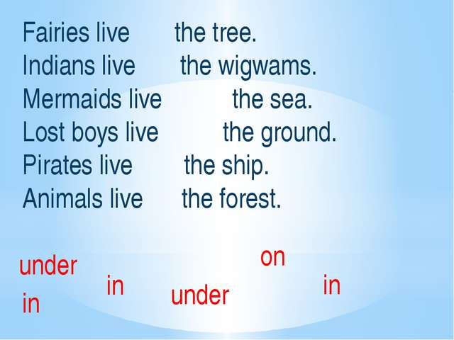 Fairies live the tree. Indians live the wigwams. Mermaids live the sea. Lost...