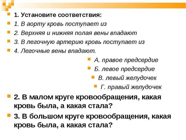 1. Установите соответствия: 1. В аорту кровь поступает из 2. Верхняя и нижняя...
