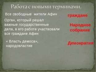 Все свободные жители Афин граждане Орган, который решал важные государственны